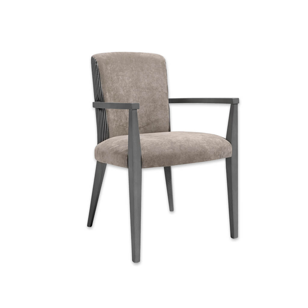 Tori Neutral Velvet Armchair  Tapered Arms and Upholstered Seat and Back 4038 AC1 - Designers Image