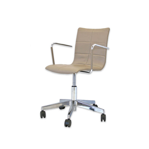 Torro Light Brown Desk Chair with Metal Armrests and Faux Leather Seat Upholstery Detail 5014 DC1
