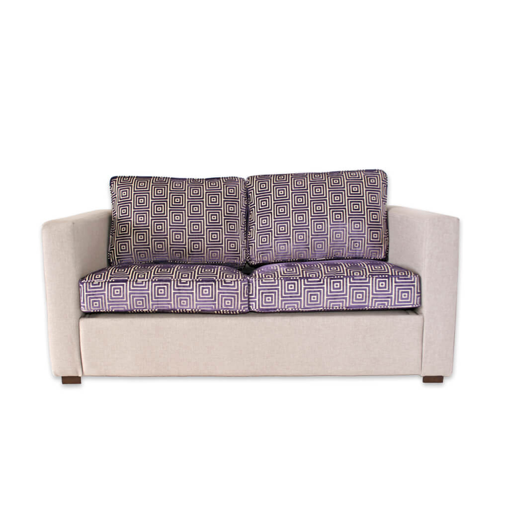 Trinity purple and cream hotel sofa with deep base and contrasting removable seat cushions 8019 SF1 - Designers Image