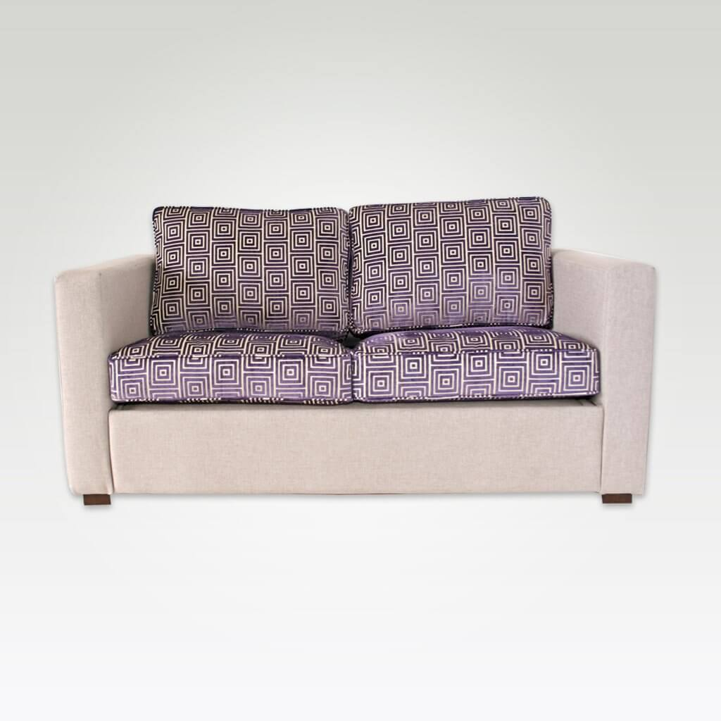 Trinity purple fabric hotel sofa bed with contrasting cushions and upholstered frame 9011 SB1