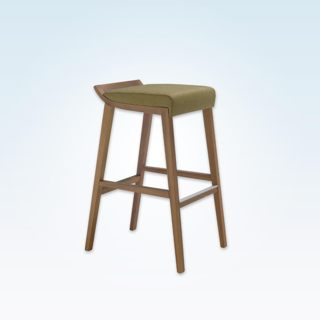 Tula light green bar stool with padded seat cushion and wooden frame with metal trimmed kick plate 6055 BR1