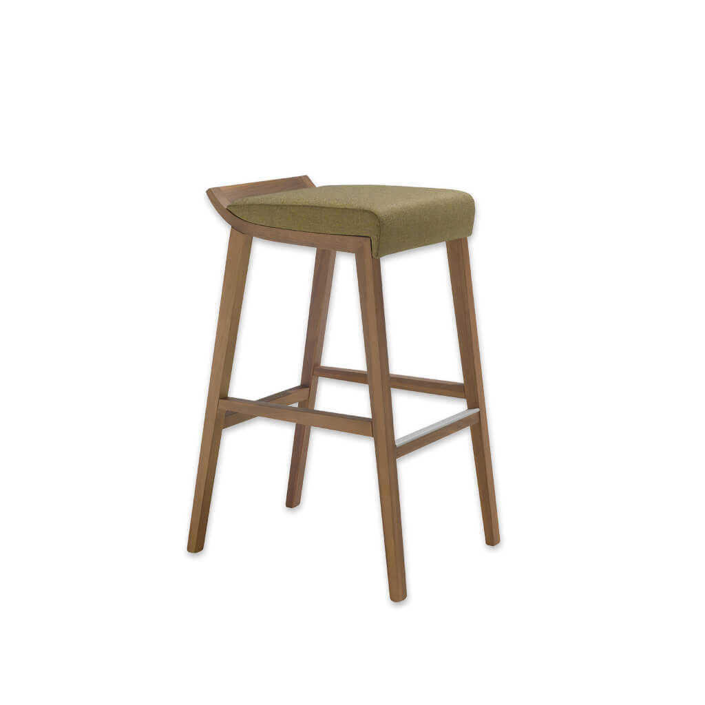 Tula light green bar stool with padded seat cushion and wooden frame with metal trimmed kick plate 6055 BR1 - Designers Image