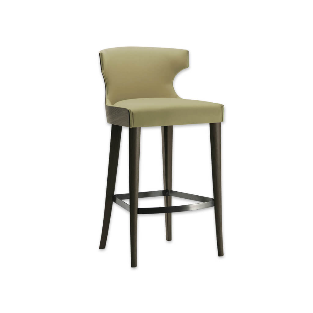 Una green bar stool with hammer head back rest and show wood rear. Featuring tapered legs and curved kick plate 6052 BR1 - Designers Image