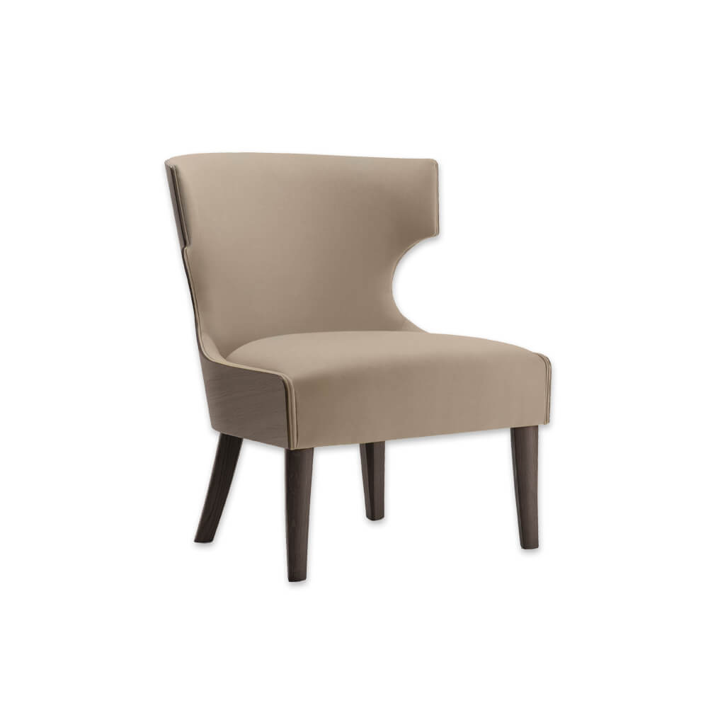 Una Upholstered Wing Back Brown Lounge Chair with Timber Shell Back 1065 LC1 - Designers Image