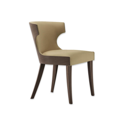 Una Full Upholstered Beige Dining Chair with Show Wood Back And Legs 3080 RC1