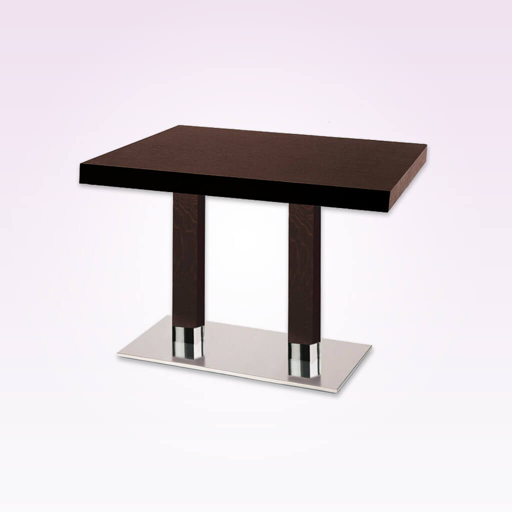 Venice double pedestal dark brown rectangular dining table with rectangular metal base plate and wooden columns. 1156