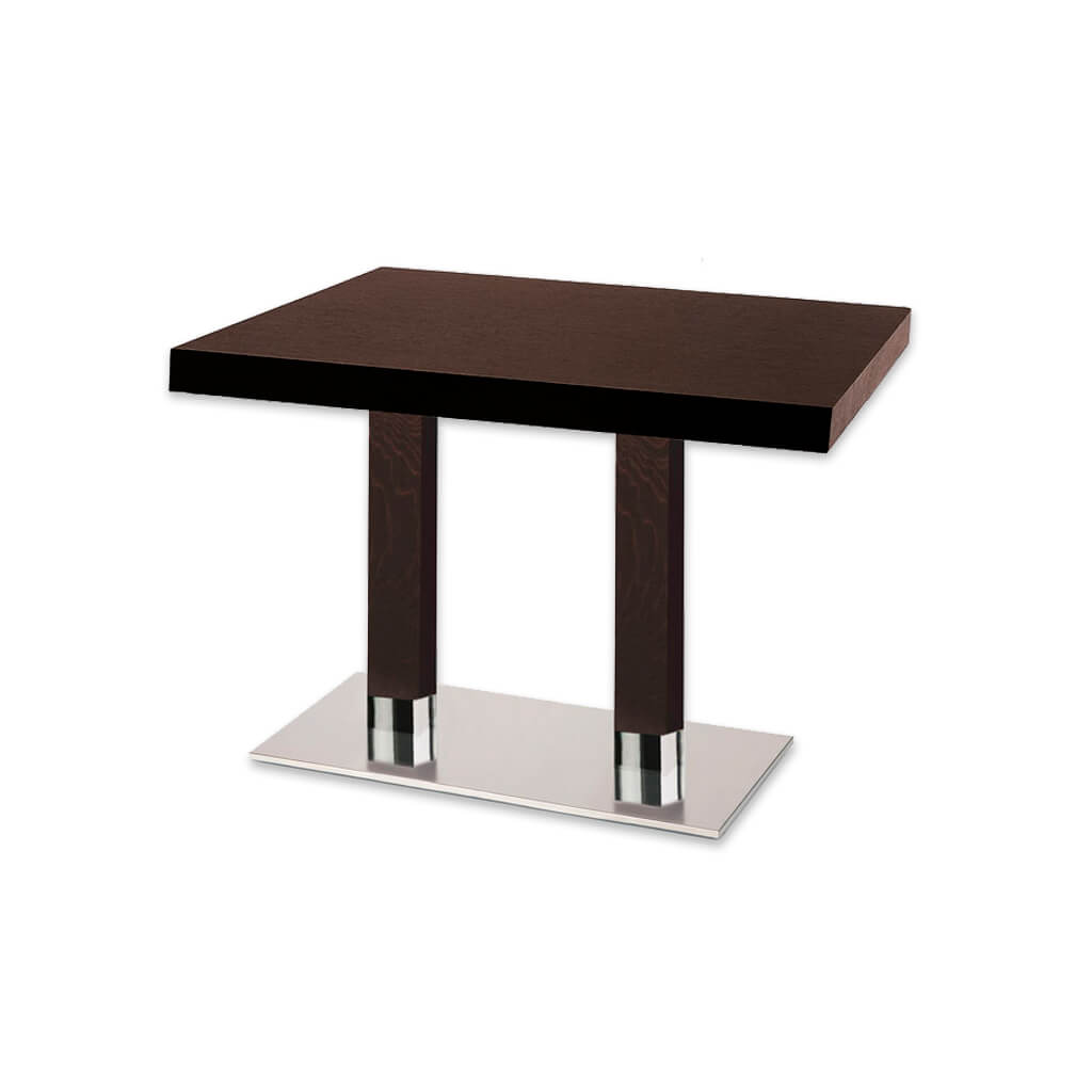 Venice double pedestal dark brown rectangular dining table with rectangular metal base plate and wooden columns. 1156 - Designers Image