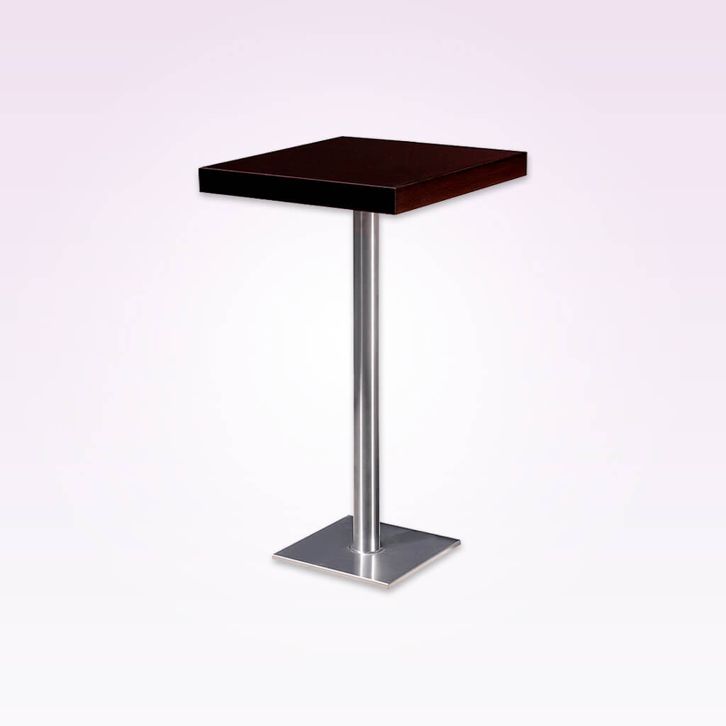 Venice dark brown square dining table with square metal base plate and pedestal. 1156