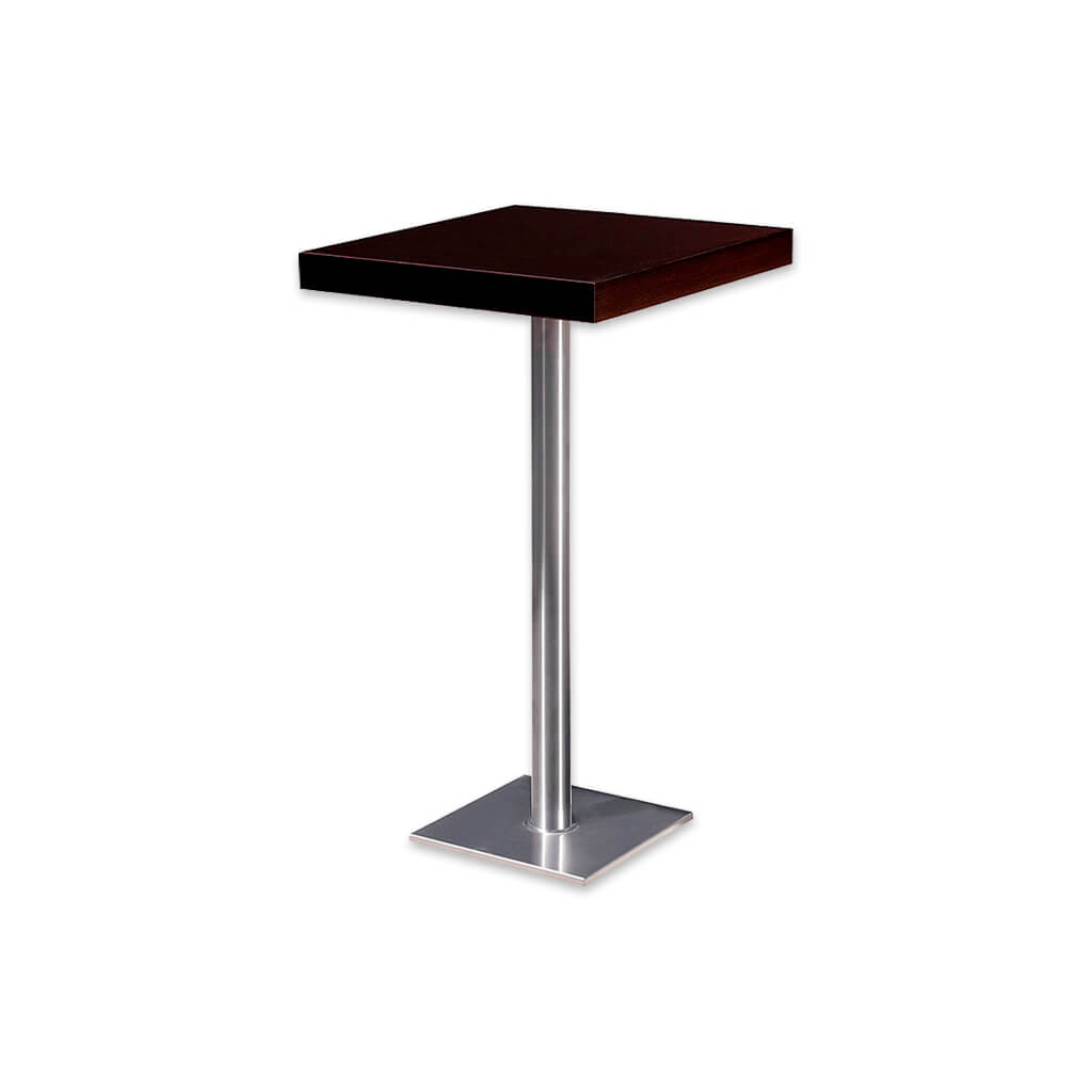 Venice dark brown square dining table with square metal base plate and pedestal. 1156 - Designer Image