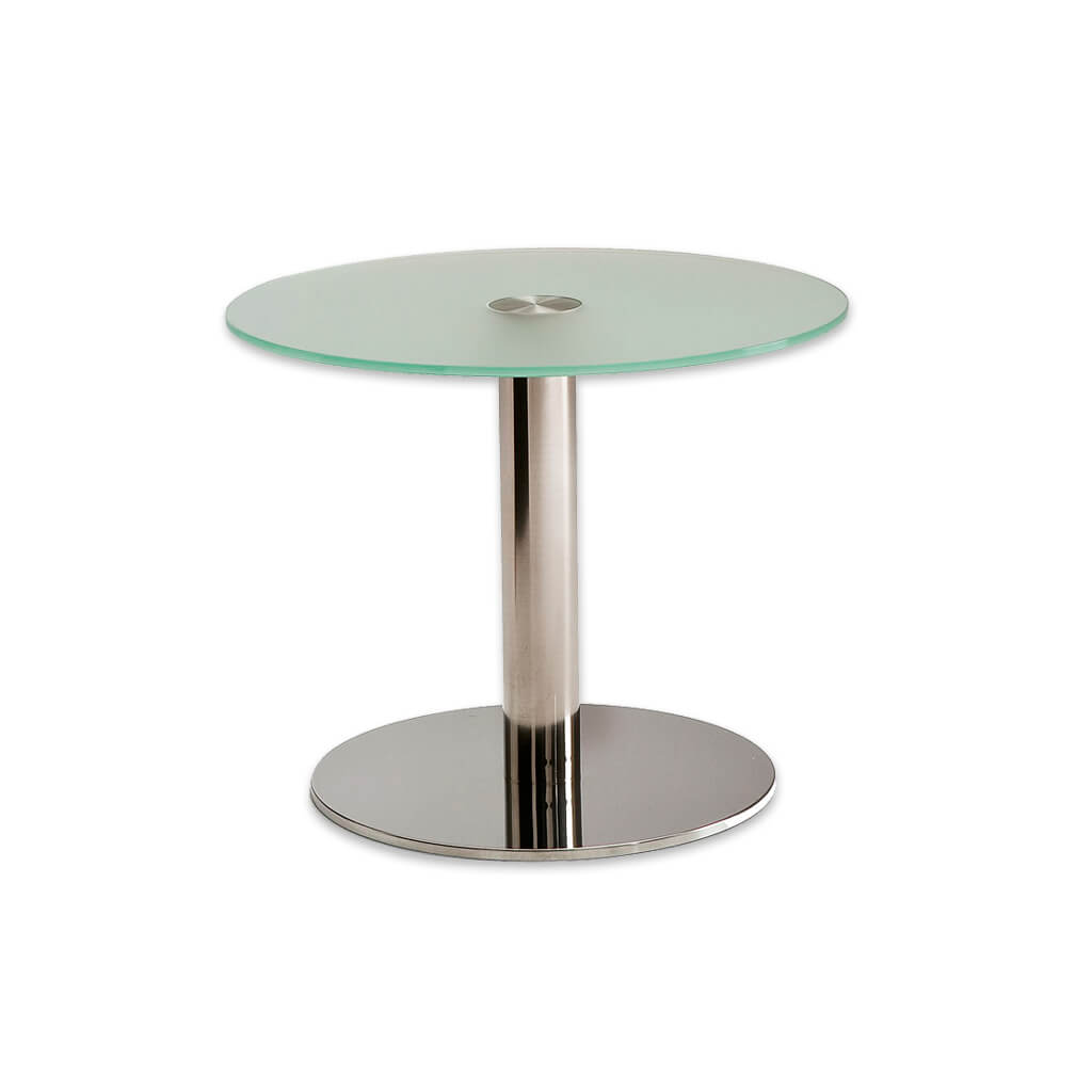Venice unique round glass dining table with polished metal round base plate and pedestal. 1156 - Designers Image
