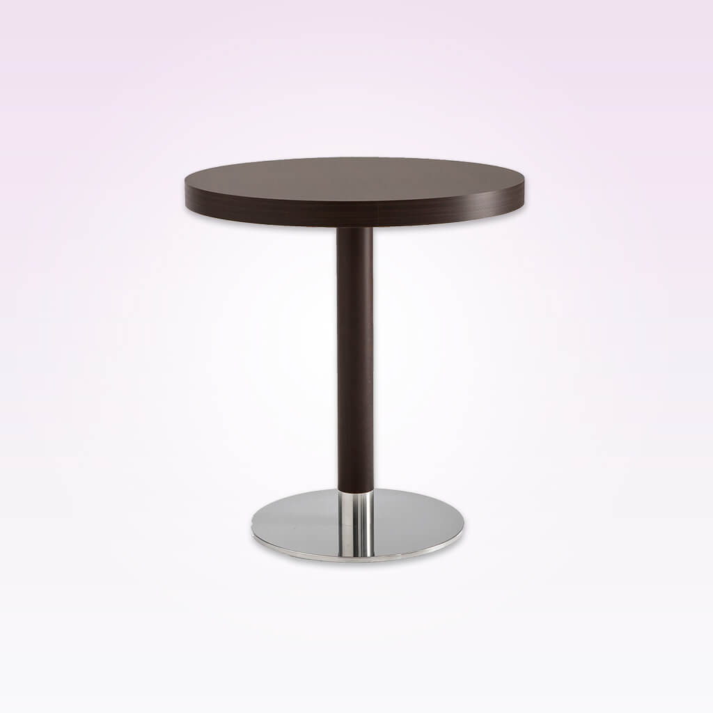 Venice timber wood dining table with round metal base plate and wooden pedestal column. 1156