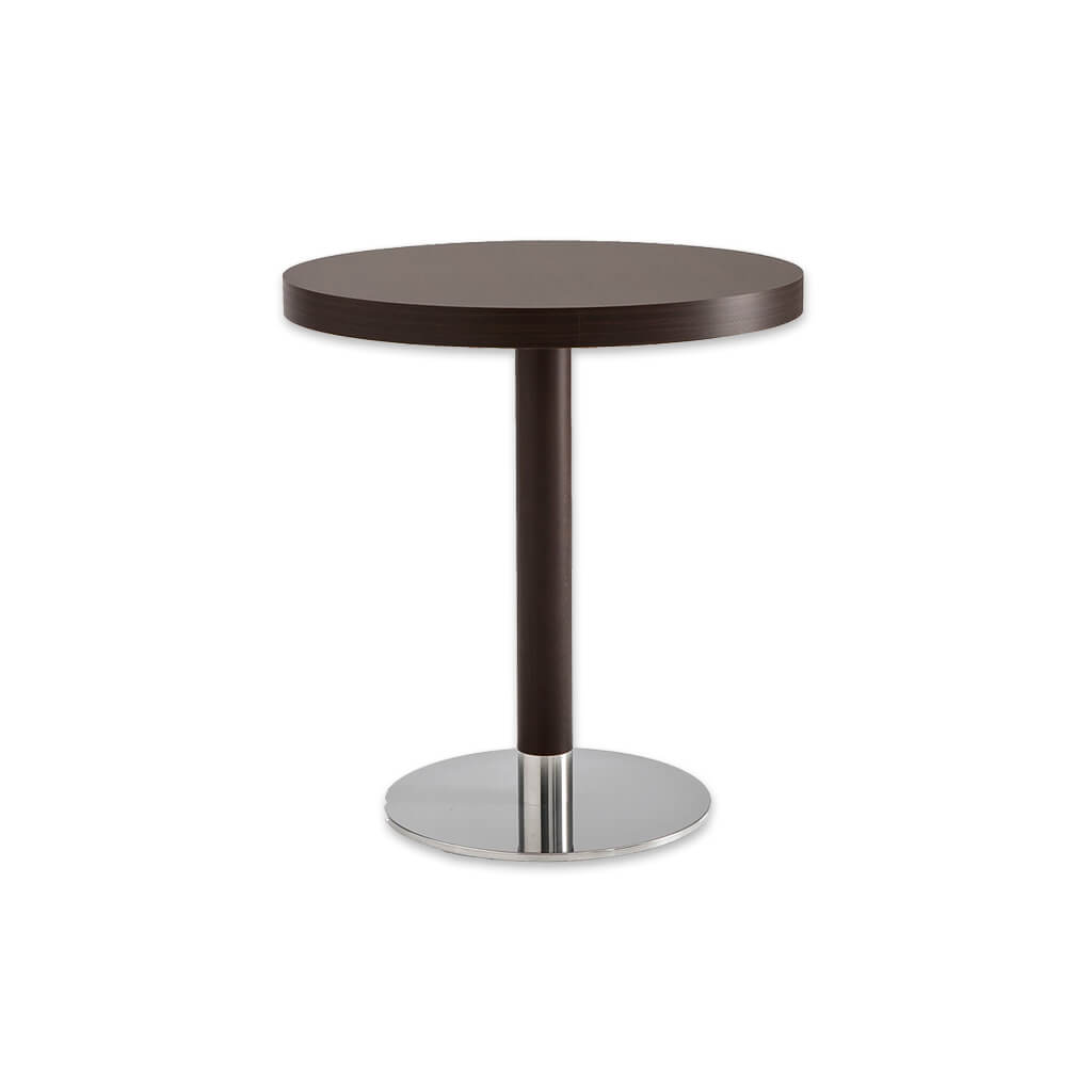 Venice timber wood dining table with round metal base plate and wooden pedestal column. 1156 - Designers Image