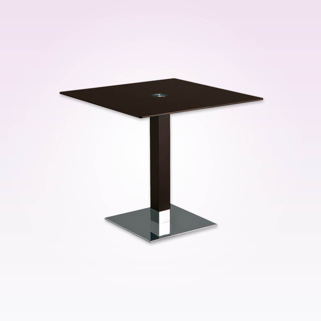 Venice dark brown square dining table with square metal base plate and wooden pedestal. 1156