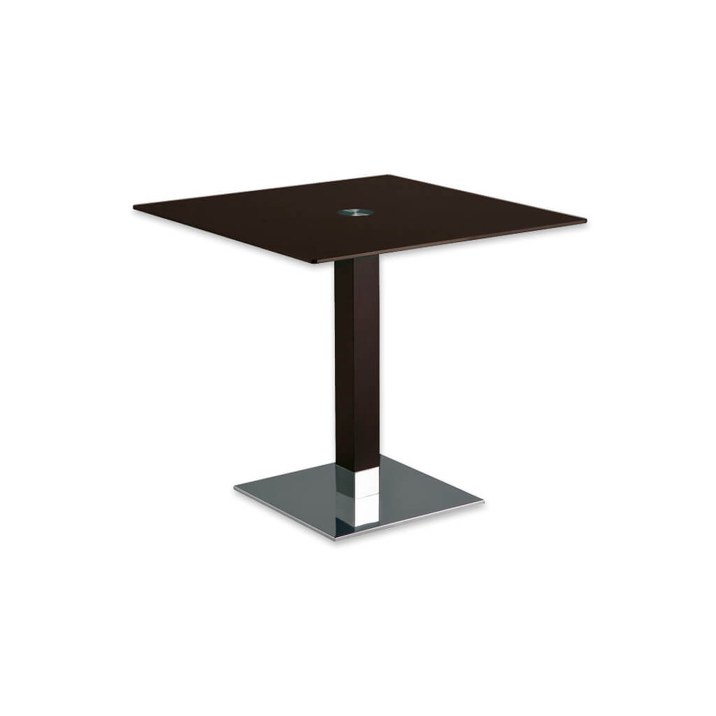 Venice dark brown square dining table with square metal base plate and wooden pedestal. 1156 - Designers Image