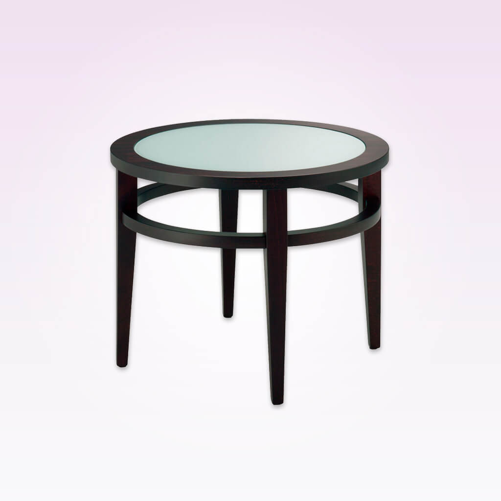 round wooden hotel coffee table with glass top for hospitality 1157