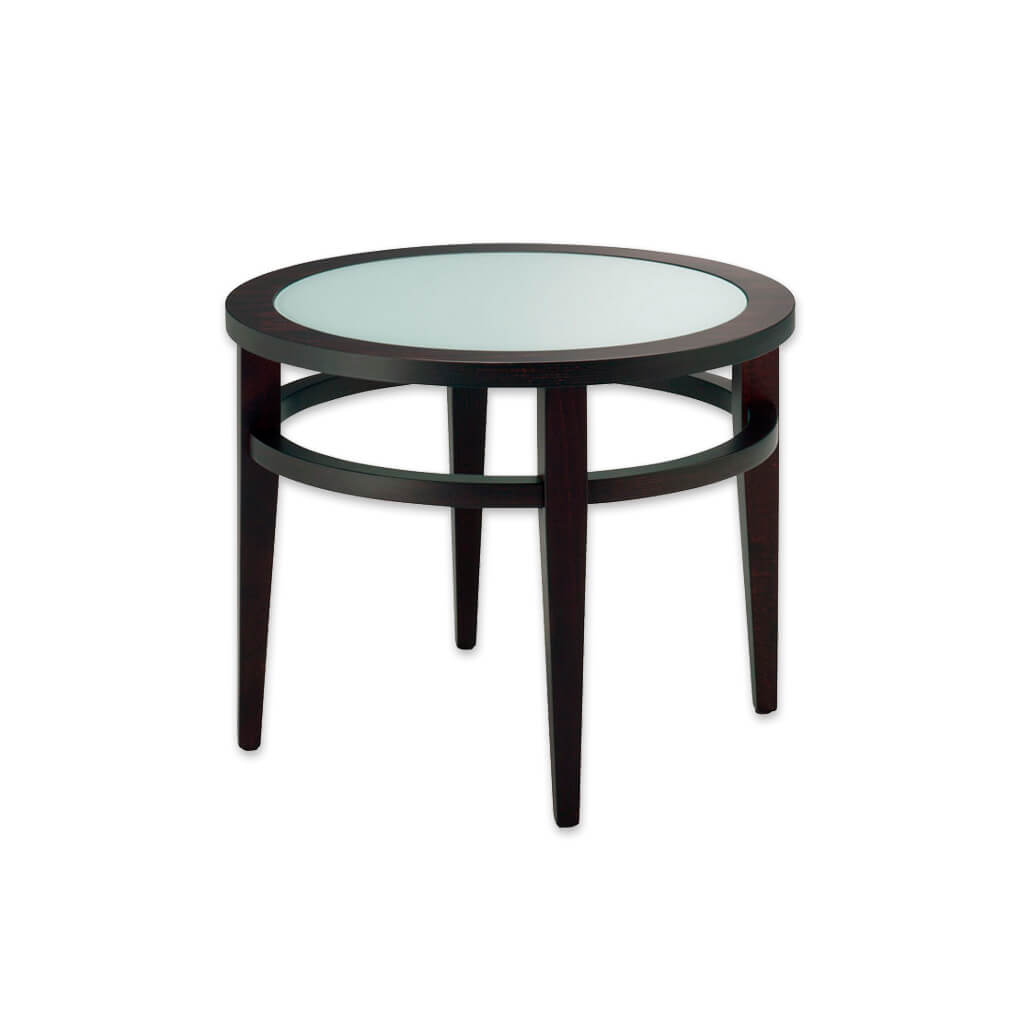 round wooden hotel coffee table with glass top for hospitality 1157 - Designers Image