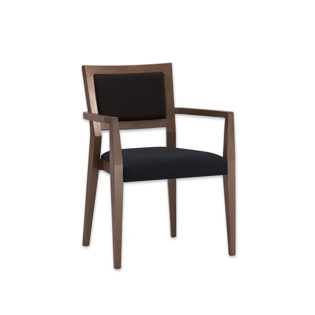 Vienna Black and Brown Armchair Angular Arms with Back and Seat Pads 4045 AC1 - Designers image