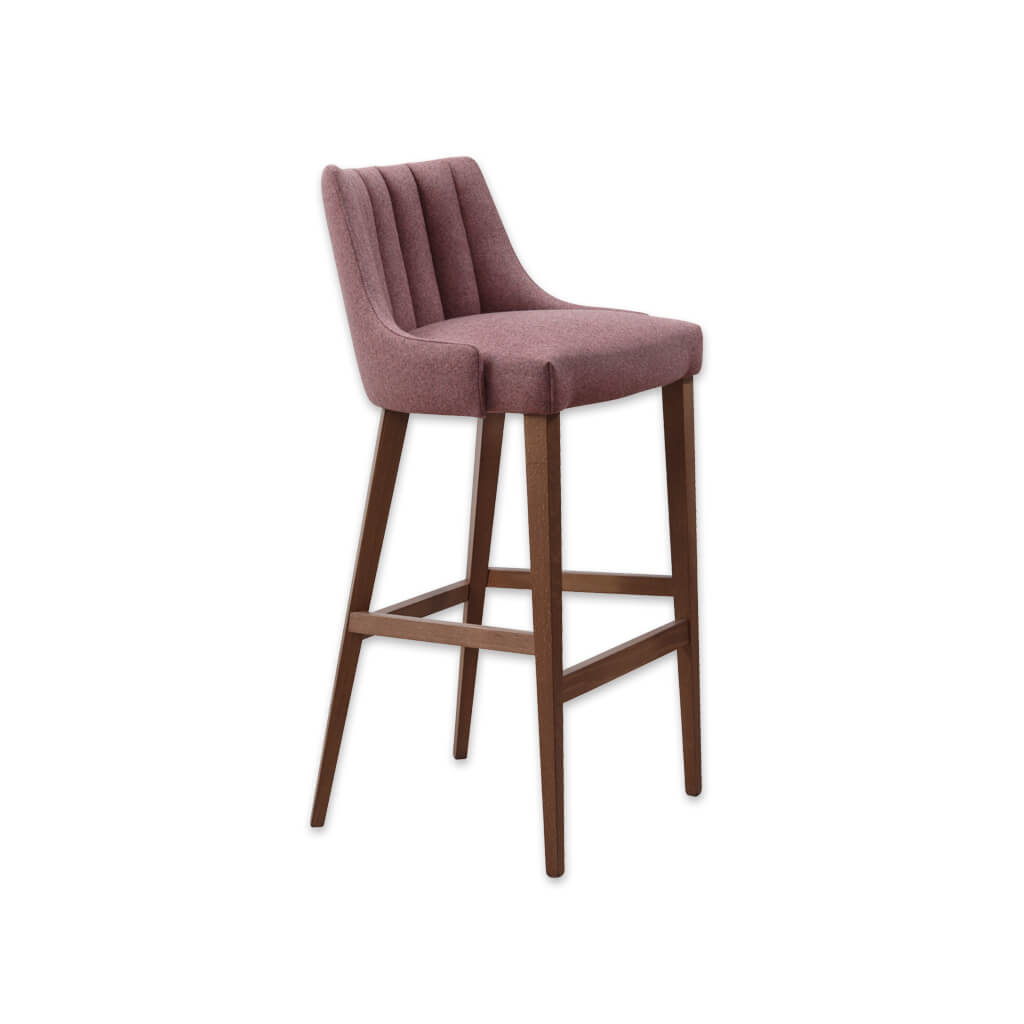 Viola pink bar stool with upholstered seat featuring decorative deep stitching and a timber frame 6027 BR1 - Designers Image