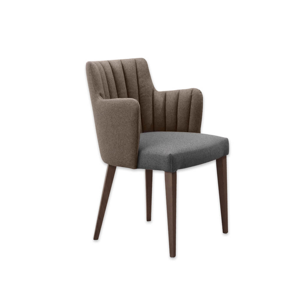 Viola Brown Armchair Fluted Upholstered Back and Armrests and Tapered Legs 4025 AC1 - Designers Image