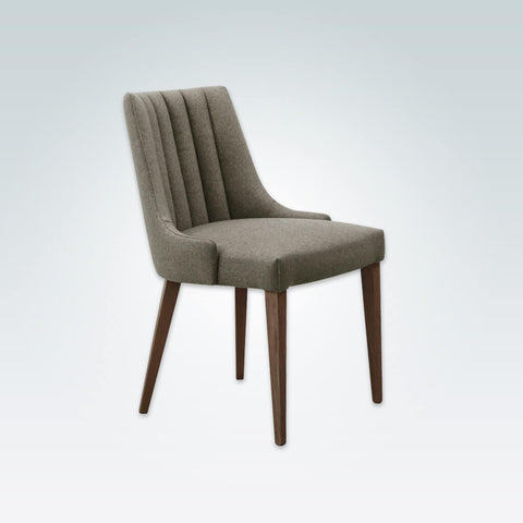 Viola Fully Upholstered Light Brown Dining Chair with Fluted Back and Wooden Legs 3049 RC1