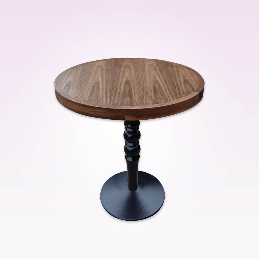 Vuno light brown dining table with detailed metal pedestal and round base. 1158