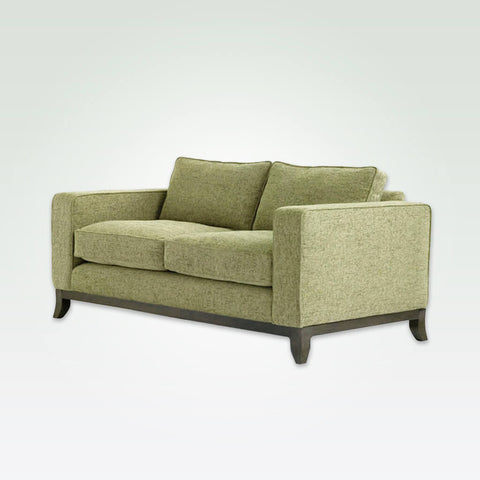 Winchester lime green fabric sofa with deep padded cushions and splayed wooden feet 8031 SF1