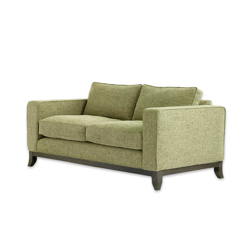 Winchester lime green fabric sofa with deep padded cushions and splayed wooden feet 8031 SF1 - Designers Image