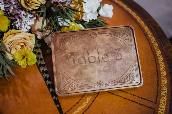custom chocolate table number centerpiece
