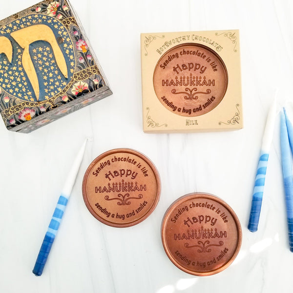 Happy Hanukkah Personalized Chocolate Medallions - Box of 3