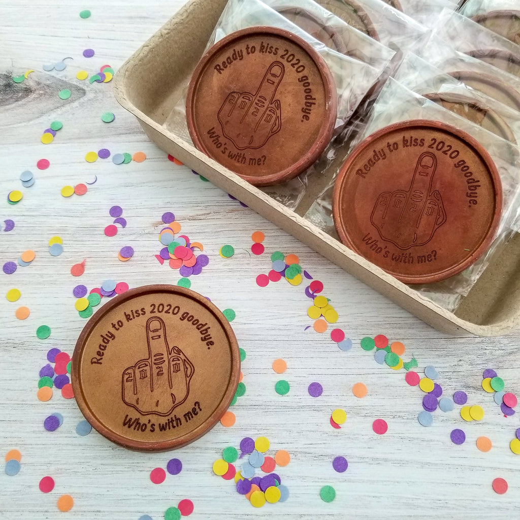 Noteworthy Chocolates Greetings Flip The Bird Personalized Chocolate Medallions - Box of 12 Personalized
