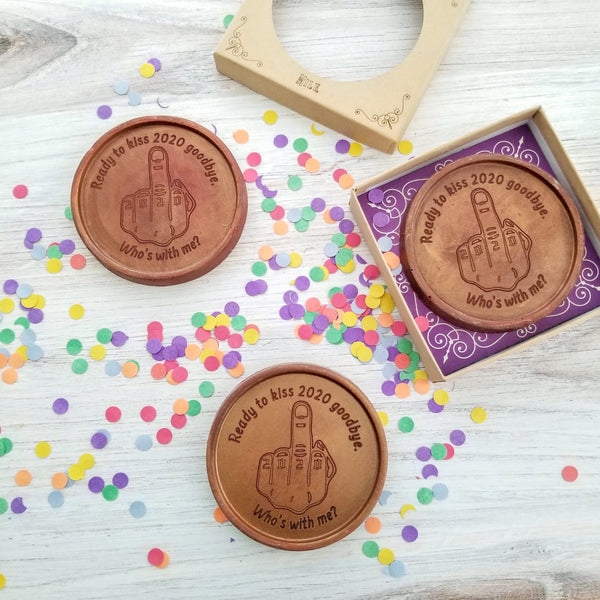 Noteworthy Chocolates Greetings Flip The Bird 2020 Personalized Chocolate Medallions - Box of 3 Personalized