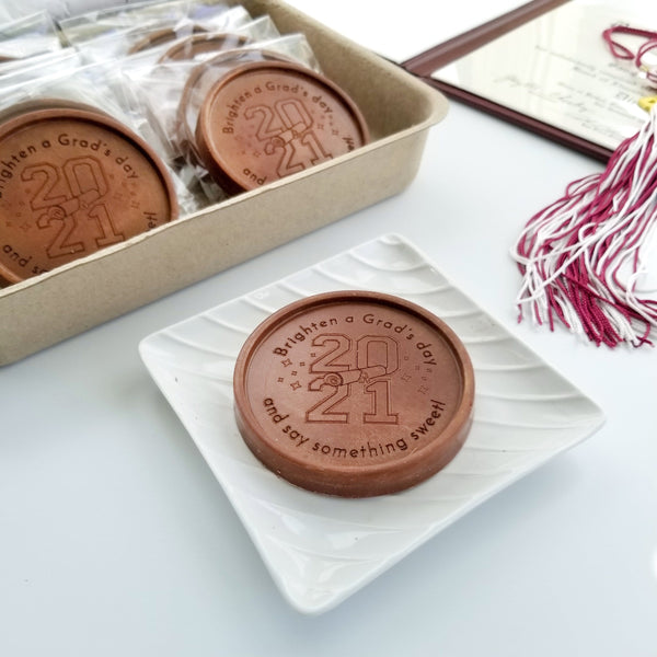 Noteworthy Chocolates Greetings 2021 Grad Personalized Chocolate Medallions - Box of 12 Personalized custom