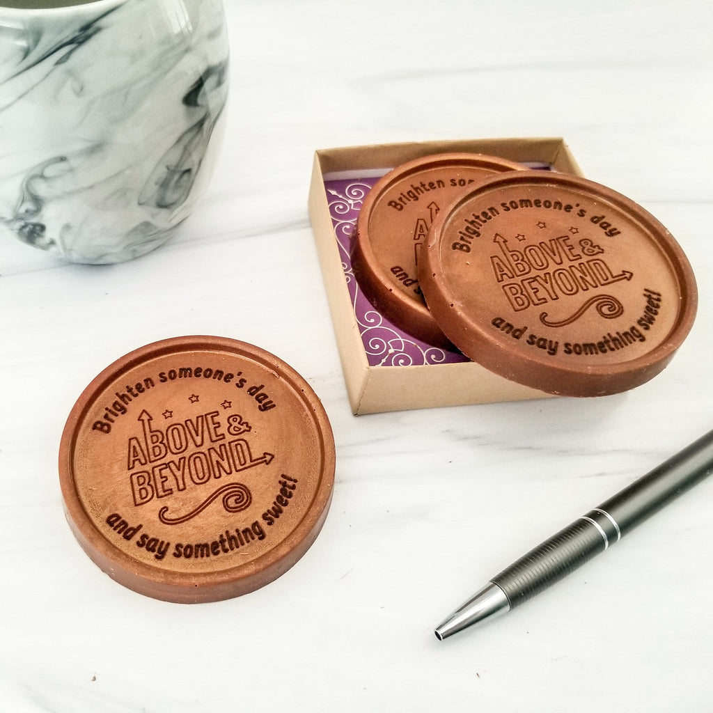 Noteworthy Chocolates Greetings Above and Beyond Personalized Chocolate Medallions - Box of 3 Personalized