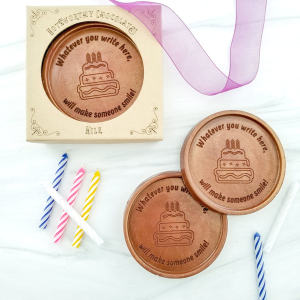 Noteworthy Chocolates Greetings Birthday Cake Personalized Chocolate Medallions - Box of 3 Personalized