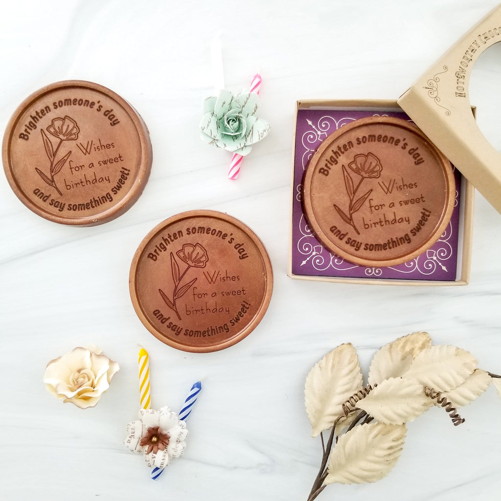 Noteworthy Chocolates Greetings Birthday Flowers Personalized Chocolate Medallions - Box of 3 Personalized