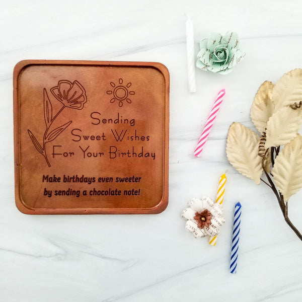 Birthday Flowers Personalized Chocolate Note