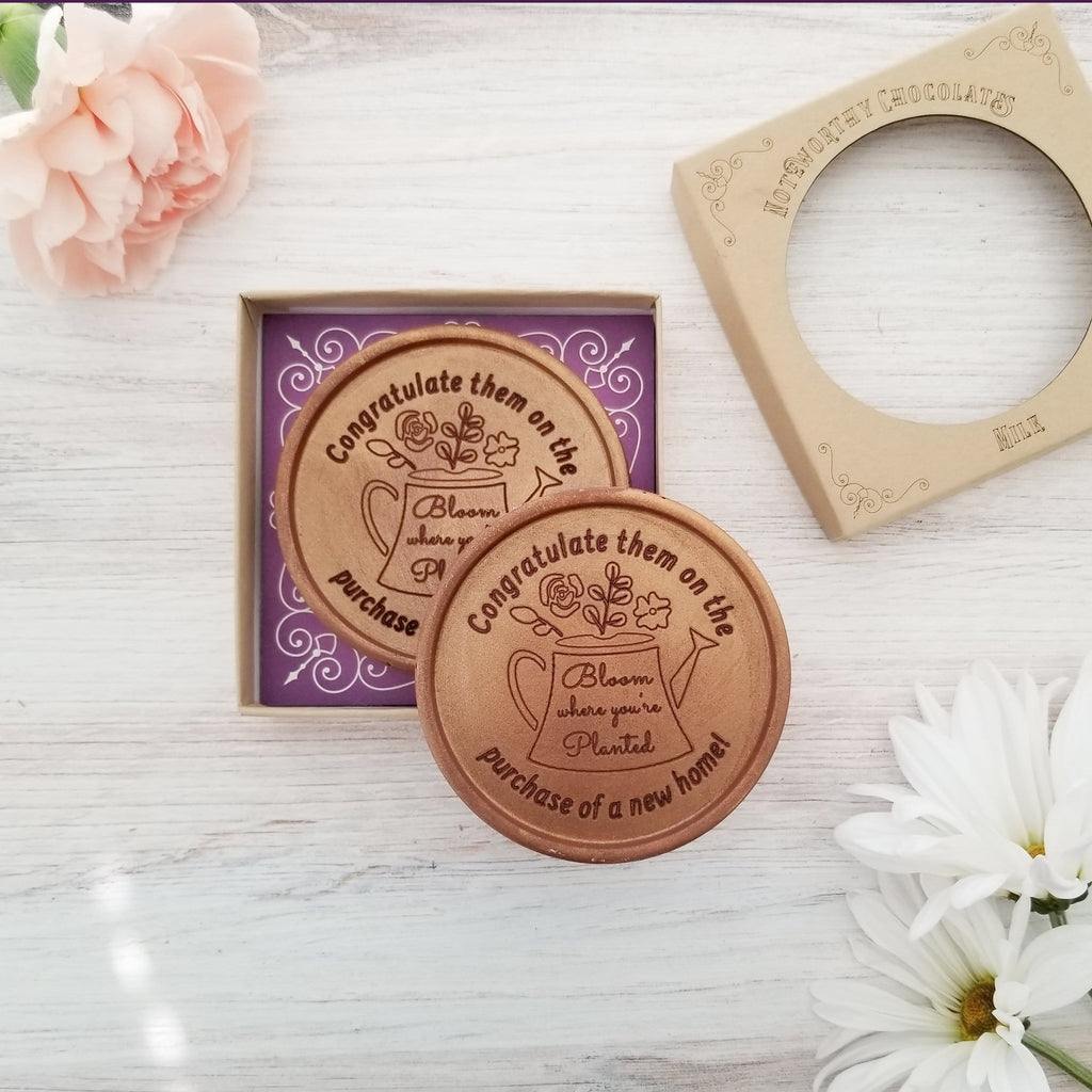 Bloom Where You're Planted Personalized Chocolate Medallions - Box of 3