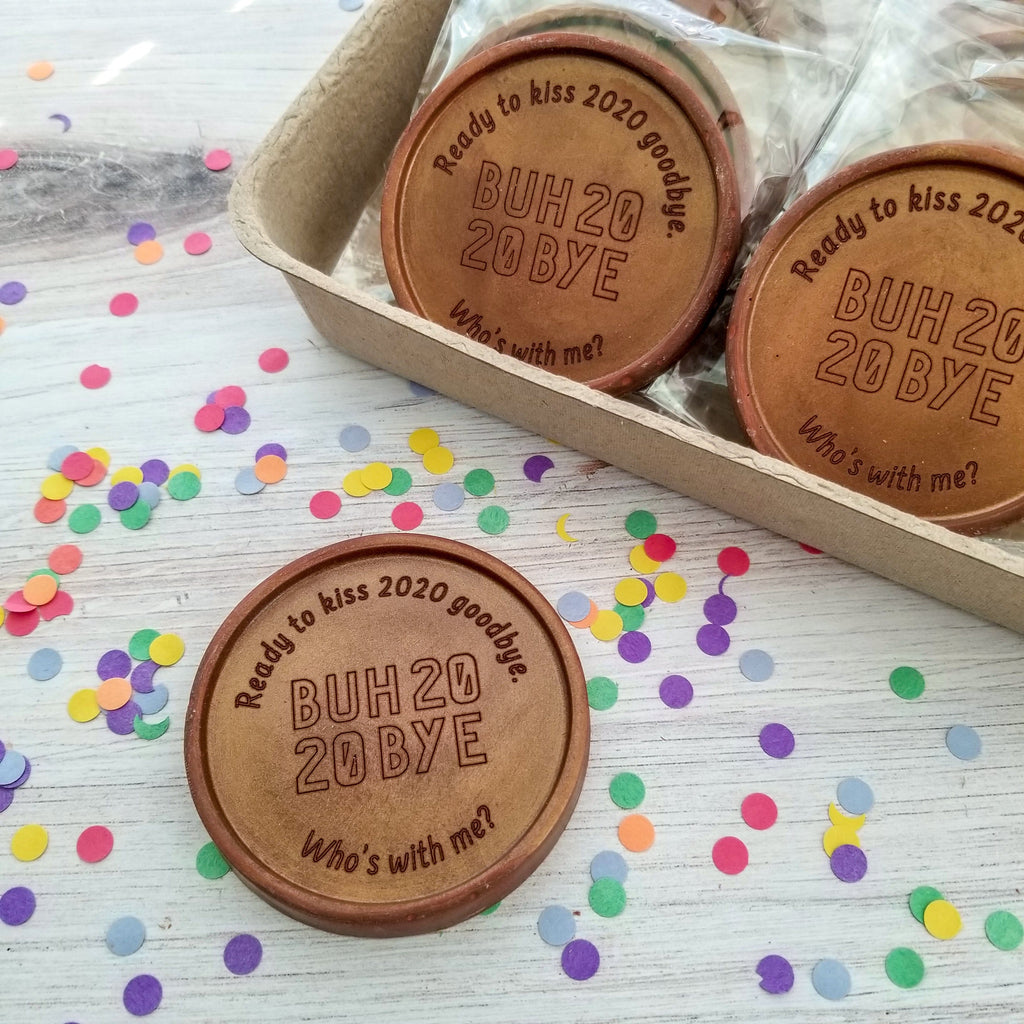 Noteworthy Chocolates Greetings Buh Bye 2020 Personalized Chocolate Medallions - Box of 12 Personalized