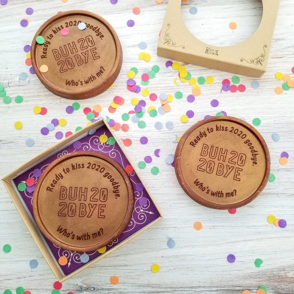 Noteworthy Chocolates Greetings Buh Bye 2020 Personalized Chocolate Medallions - Box of 3 Personalized