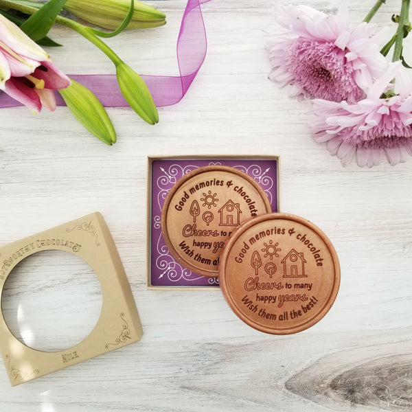 Noteworthy Chocolates Greetings Cheers To Many Happy Years Personalized Chocolate Medallions - Box of 3 Personalized custom
