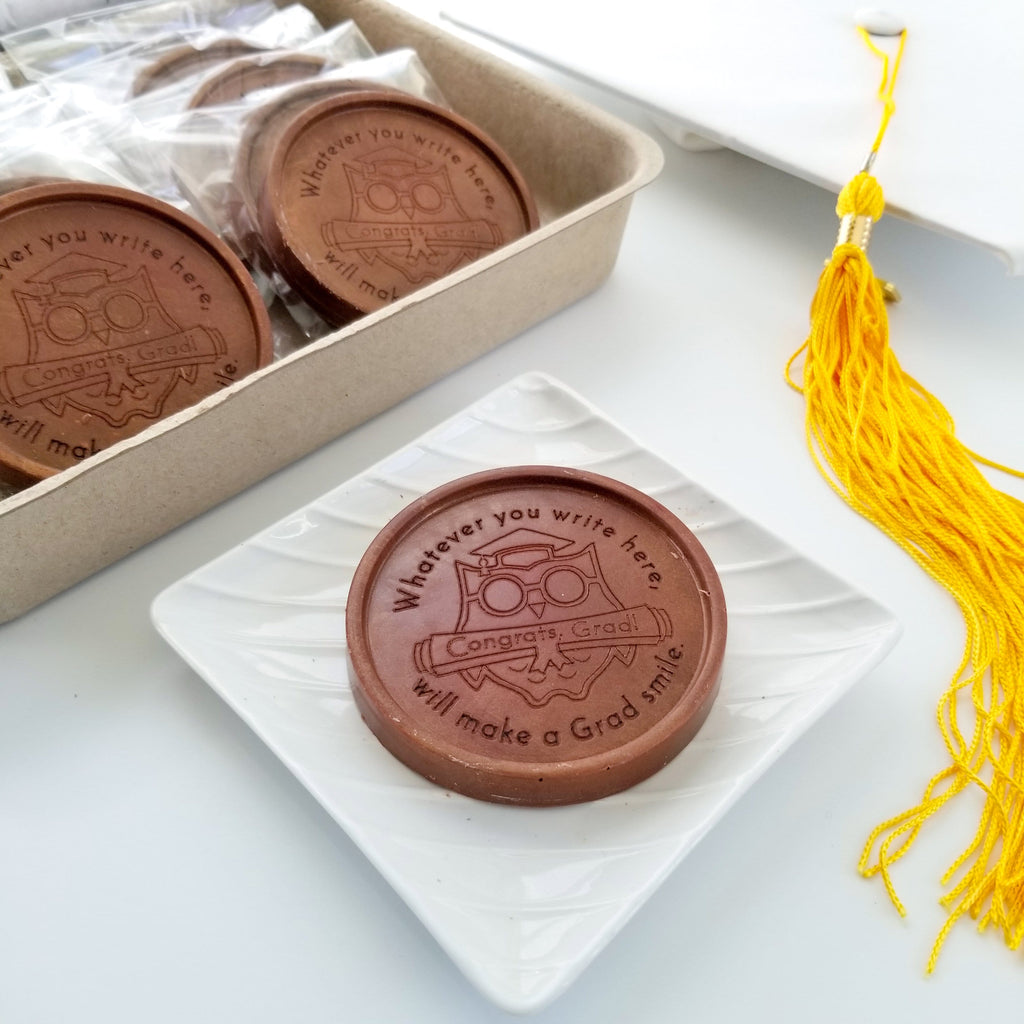 Noteworthy Chocolates Greetings Congrats Grad Owl Personalized Chocolate Medallions - Box of 12 Personalized custom