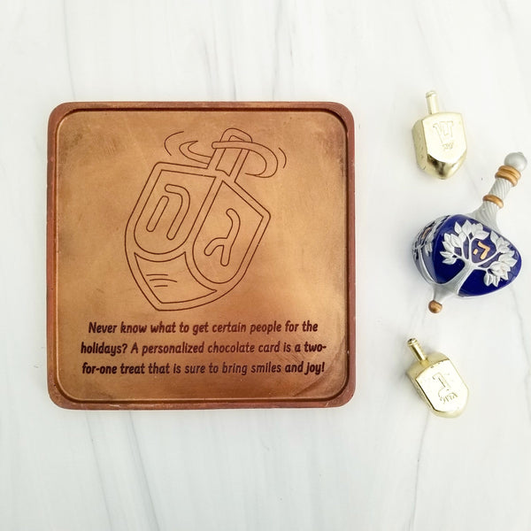 Dreidel Personalized Chocolate Card