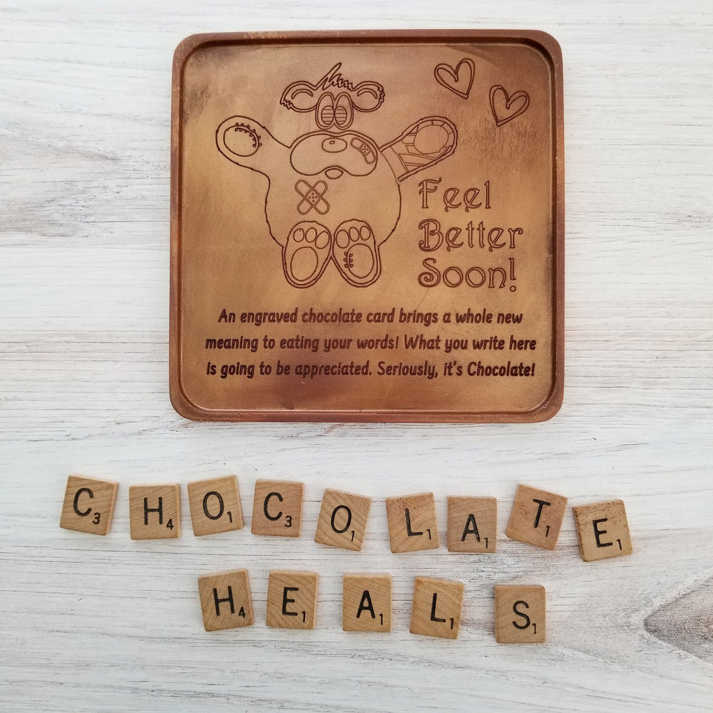 Noteworthy Chocolates Greetings Feel Better Bear Personalized Chocolate Card Personalized