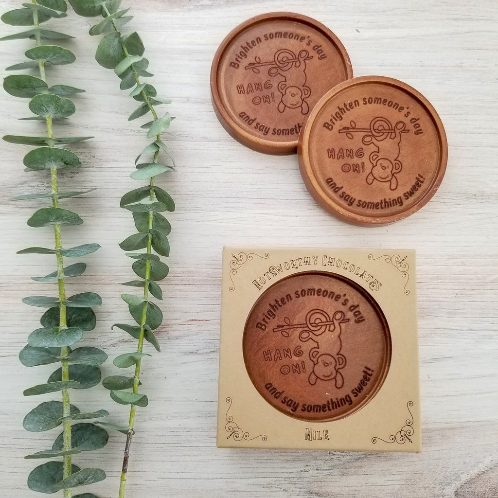 Noteworthy Chocolates Greetings Hang On Personalized Chocolate Medallions - Box of 3 Personalized