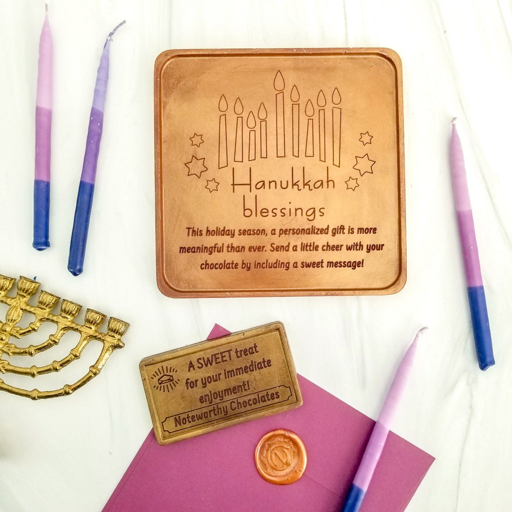 Hanukkah Blessings Personalized Chocolate Card