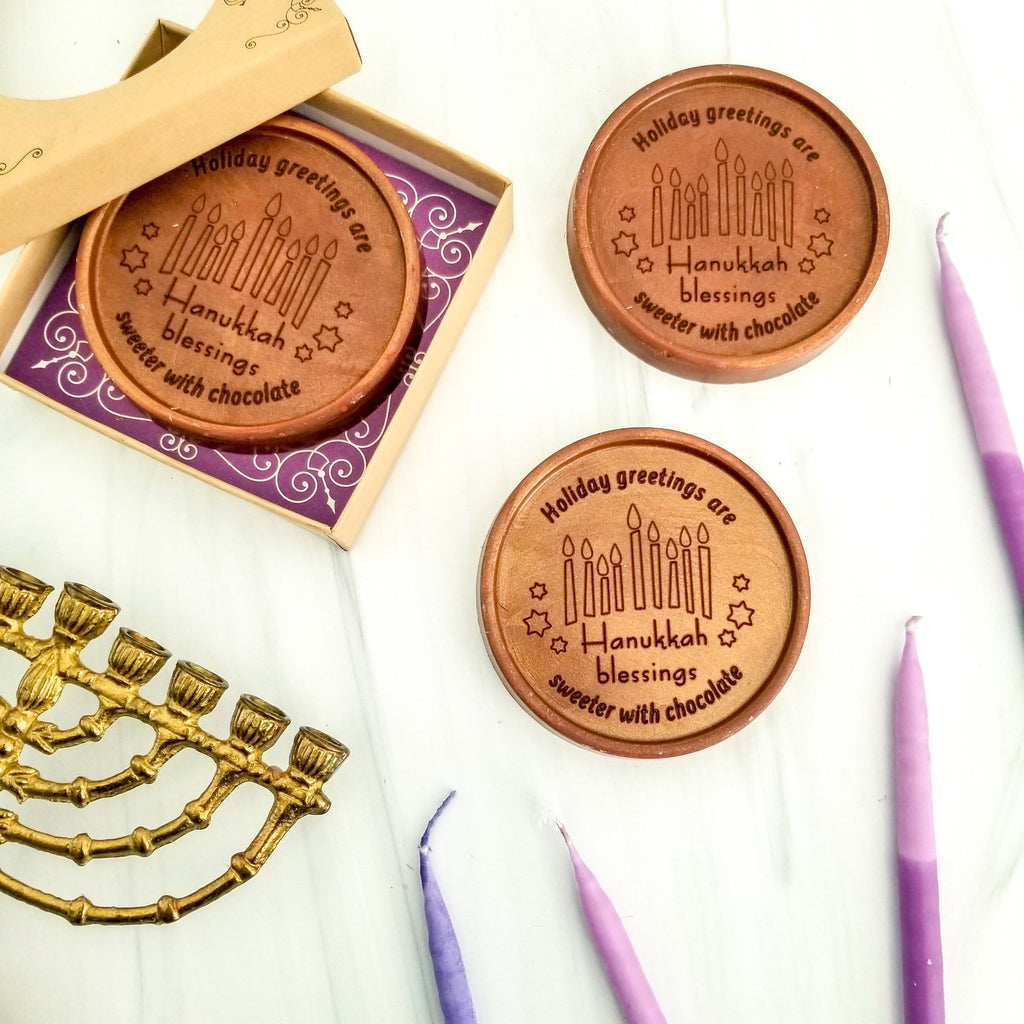 Hanukkah Blessings Personalized Chocolate Medallions - Box of 3