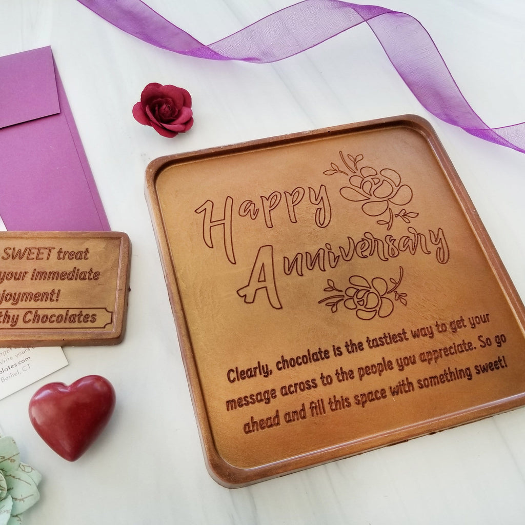 Noteworthy Chocolates Greetings Happy Anniversary Personalized Chocolate Card Personalized