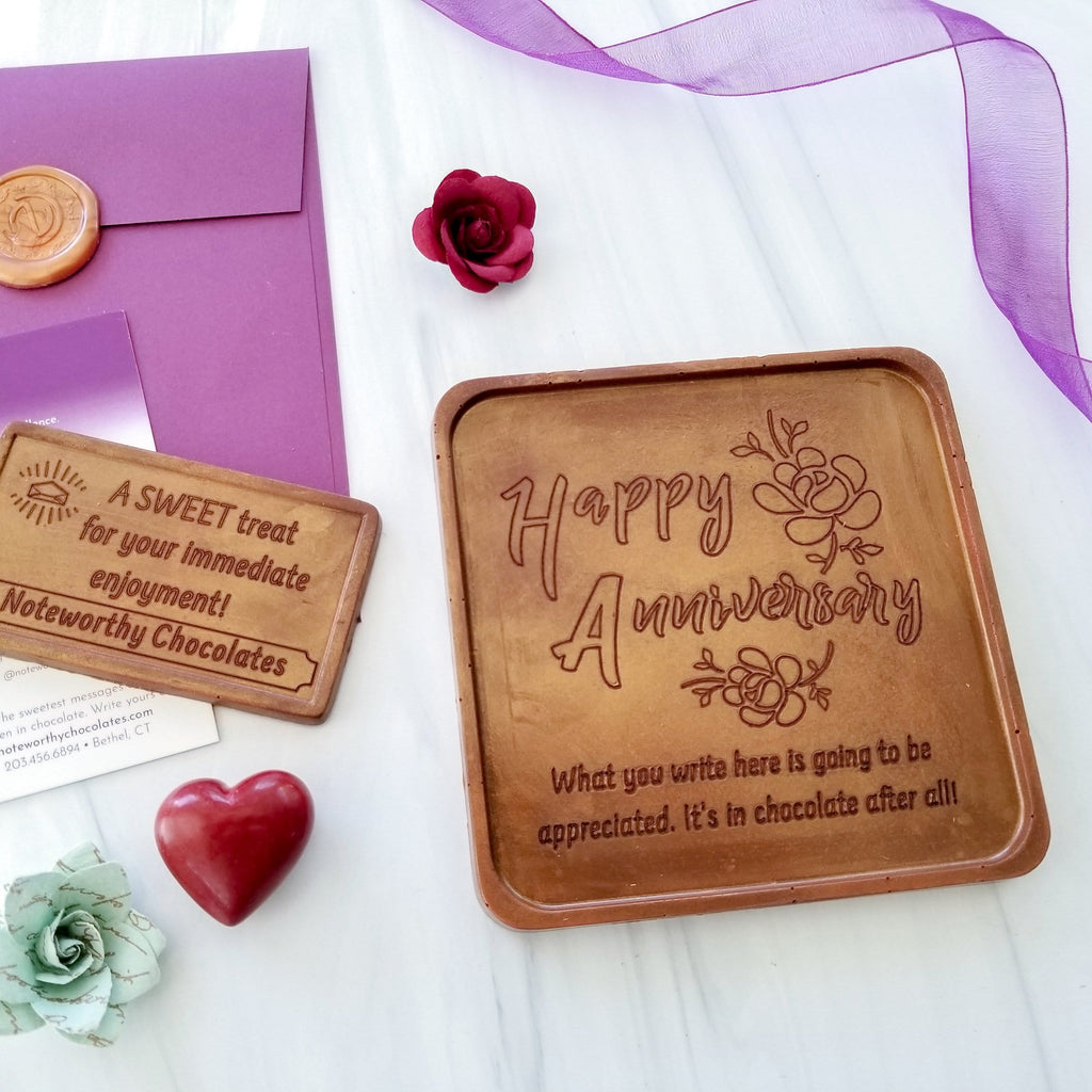 Noteworthy Chocolates Greetings Happy Anniversay Chocolate Note Personalized