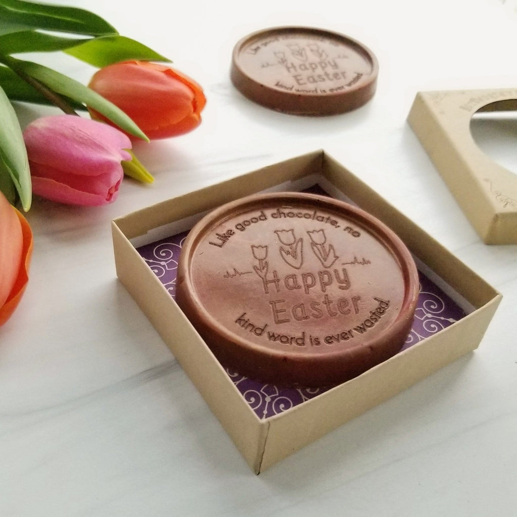 Noteworthy Chocolates Greetings Happy Easter Flowers Personalized Chocolate Medallions - Box of 3 Personalized custom
