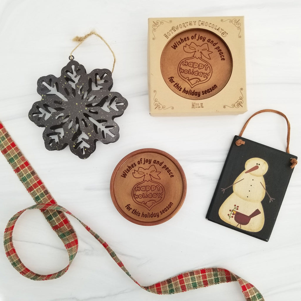 Noteworthy Chocolates Greetings Happy Holidays Personalized Chocolate Medallions - Box of 3 Personalized